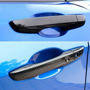 Image is loading For-Honda-Civic-2016-2017-Carbon-fiber-Style- & For Honda Civic 2016 2017 Carbon fiber Style Door Handle Cover With ...