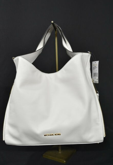 9773912e8355ac Michael Kors Devon Large Calf Leather Satchel/Shoulder Tote in Optic White