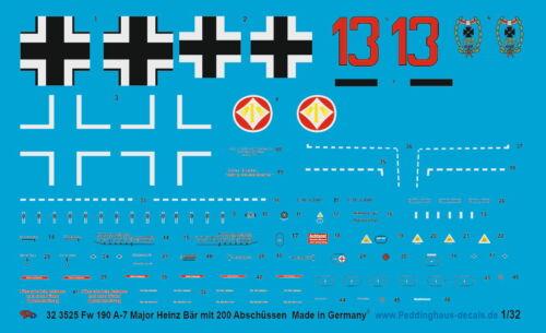 Peddinghaus-Decals 1//32 3525 Fw 190 A-7 Major Heinz Bär mit 200 Abschüssen
