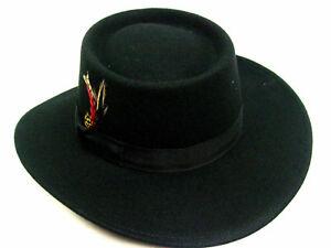 Mens-BLACK-Gambler-style-Old-West-Cowboy-Westworld-Wool-Felt-Hat-sizes-M-to-XL