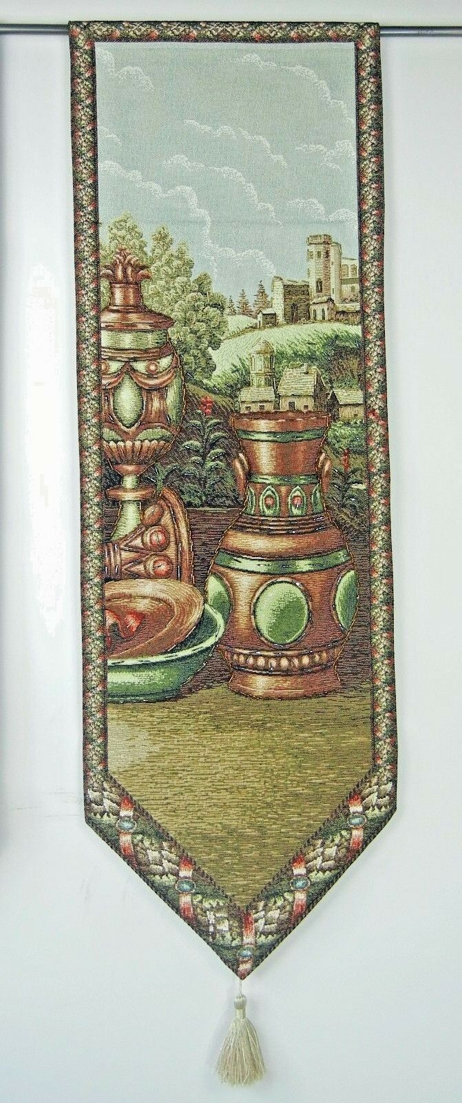 Woven Wall Hanging Cotton Tapestry Hand Beaded Art Countryside Scene 15 x 46