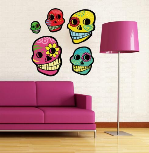 Sugar Skulls Cute Bubblegum Wall Art sticker Full Colour