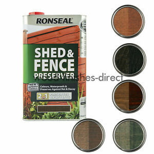 Details About Ronseal Shed And Fence Preserver 2 In 1 Protection 5 Colours Available 5 Litre