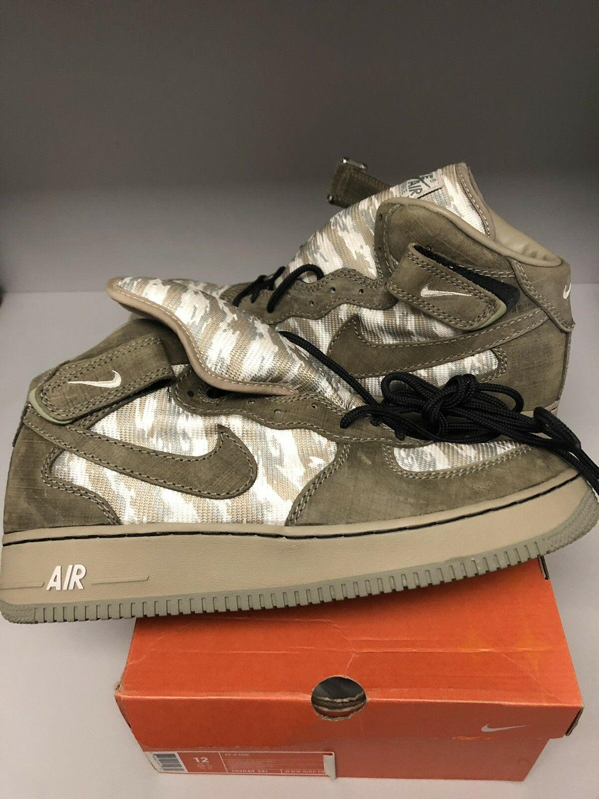 NIKE AIR FORCE 1 MID CLASSIC RECON NORT FUTURA STASH SIZE 12 OLIVE 2004 NEW