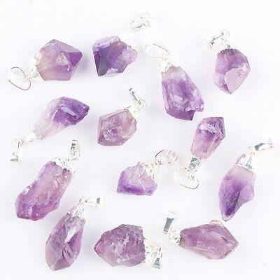 Purple Amethyst Quartz Freeform Gemstone Stone Silver Charm Pendant Fit Necklace