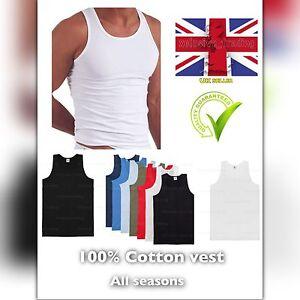 Mens-vests-3-6-pack-gym-man-tank-top-vest-S-M-L-XL-XXL-mix-colour-sleeveless-uk