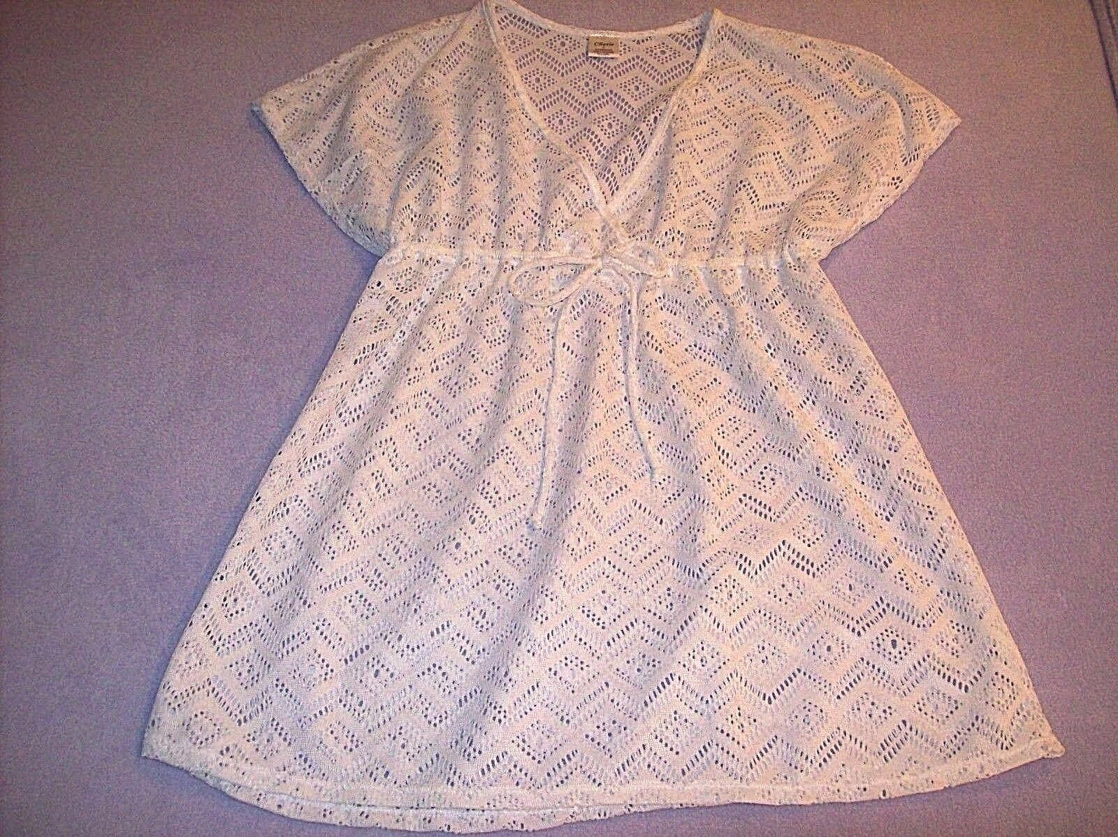 NWOT STUNNING WHITE SEMI SHEER  BEACH COVERUP BY CHERIE SIZE L 100% POLYESTER