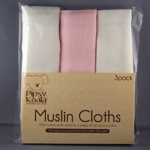Pipsy Koala Baby Muslin Cloths 100/% Cotton White//Pink Pack of 3