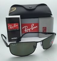 Polarized Ray-ban Sunglasses Rb 3498 002/9a 64-17 Black Frame W/ Grey-green