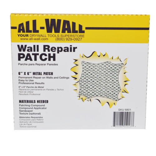 "10Ct. Drywall Repair Patches 6"" x 6"" SelfStick Mesh & Metal Doorknob Size"