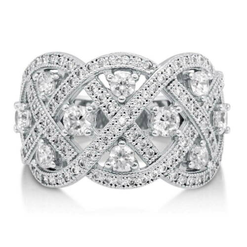 BERRICLE Sterling Silver CZ Woven Art Deco Cocktail Fashion Right Hand Ring