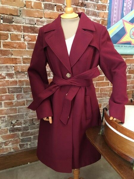 Dennis Basso Burgundy Wine Red Faux Wool Notch Collar Trench Coat S NEW a267824