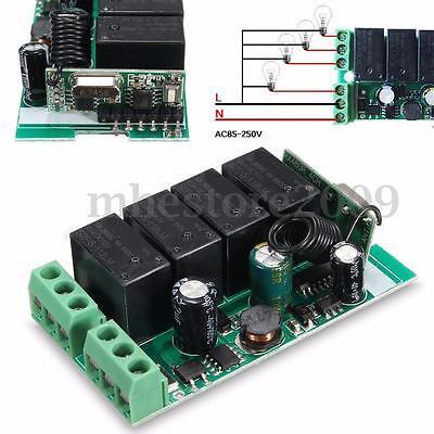 110V-220V 433MHz 4 CH Channel Wireless RF Relay Remote Control Switch Receiver