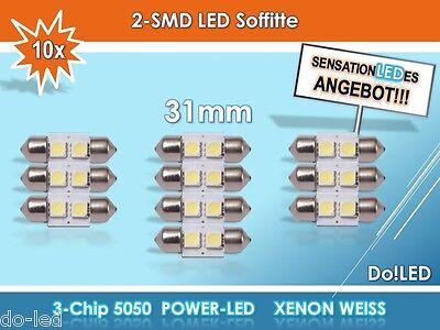 10x LED 28mm 29mm 30mm 31mm Soffitte 12V Soffitte Lampe Innenraum Xenon Birne