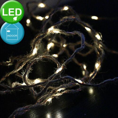 40er LED Weihnachts Lichterkette X-MAS Kupfer Hanf Seil Batterie Deko Lampen