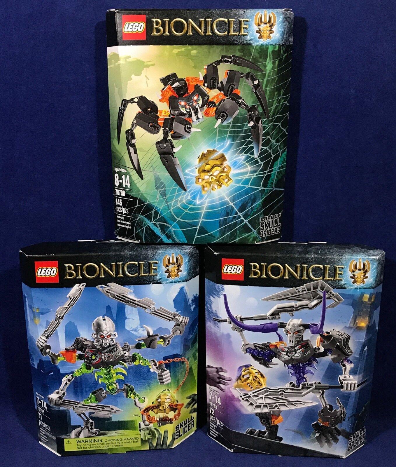 3 Neuf Lego Bionicle Lot 70790 70792 70793-Crâne Trancheuse Basher seigneur des araignées
