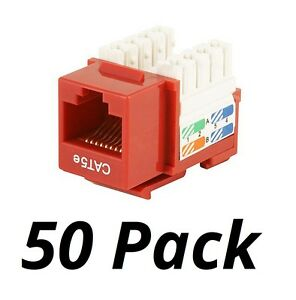 50x-Cat5e-RJ45-Network-Keystone-Jack-Punch-Down-50-pcs-Red-For-Wallplate-Panel