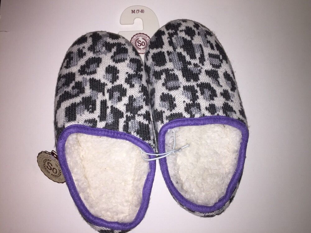 SO Women&#039;s Knit Clog Slippers&#034;GREY/<wbr/>LAVENDER&#034; Animal M(7-8) NWT Warm Cozy Comfort