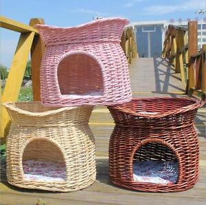 2 Tier Wicker Cat Bed Basket Pet Pod House Sleeping