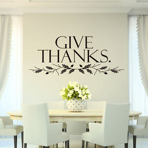 Give Thanks Art Quote Home Decor Stickers Christian Family