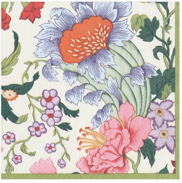 Chinese Silk Black floral Caspari paper lunch napkins 20 pack 33 cm sq 3 ply