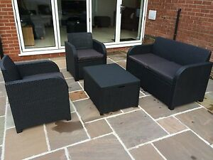 Image Is Loading Allibert Keter Carolina Rattan Garden Furniture Set Anthracite
