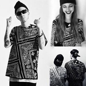 Men-Graffiti-Hip-hop-Allover-Print-Dancer-Bandana-Graphic-T-Shirt-Tops