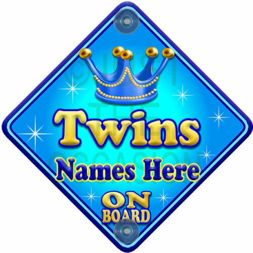 NEW  ALLURE TWINS  Blue for Boy Personalised Baby on Board Car Window Sign