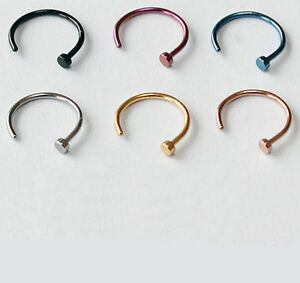 2-Stueck-Nasenpiercing-Ring-Nasenring-Nasen-Piercing-Titan-Gold-pt-Nose-Hoop