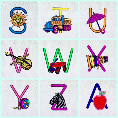 Character Alphabet Embroidery Designs Card For Husqvarna Viking  Machines