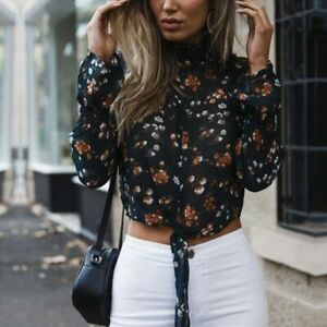 Chiffon-tops-Women-summer-casual-long-sleeve-floral-fashion-blouse-t-shirt-new
