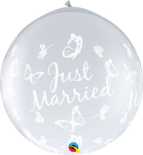 Just Married Helium//Air Party Balloons Qualatex Giant Wedding Latex Balloons