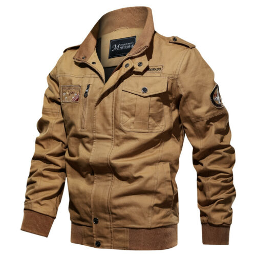 New Men Pilot Jacket Military Bomber Multi-pocket Jacket Tactical Casual Outwear