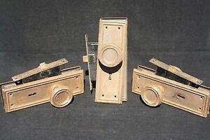 3 Sets Antique Mission Arts Crafts Era Door Knob Pairs