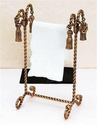 NEW FRENCH ROYAL TASSEL SWAG REGAL TWISTED IRON ROPE GOLD TOWEL TISSUE BOX