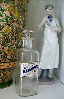 RARE Glass Label Apothecary Bottle~LUG~1800's~TR. LIMONIS~TINCTURE OF LEMON