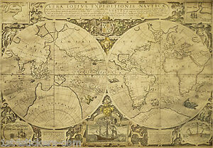 Print-of-an-Old-Nautical-Map-of-the-Globe-Picture-Poster-World-Earth-Art-2s