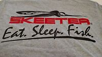Authentic Skeeter Short Sleeve Gray Tshirt With Eat. Sleep.fish.logo - Large