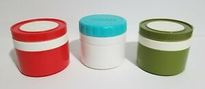 """3 VINTAGE 3.5"""" 6oz Thermos Insulated Individual Soup Jars #1155"""