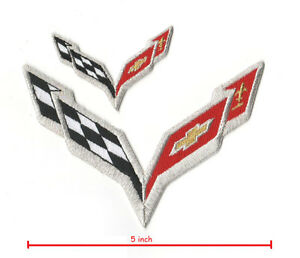 Transportation CORVETTE RACING C-7 LOGO 2-PC set Corvette Racing Team Super Sports Vette Patch Patches