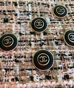 100-Authentic-Chanel-Buttons-logo-cc-black-lot-of-5-gold-22mm