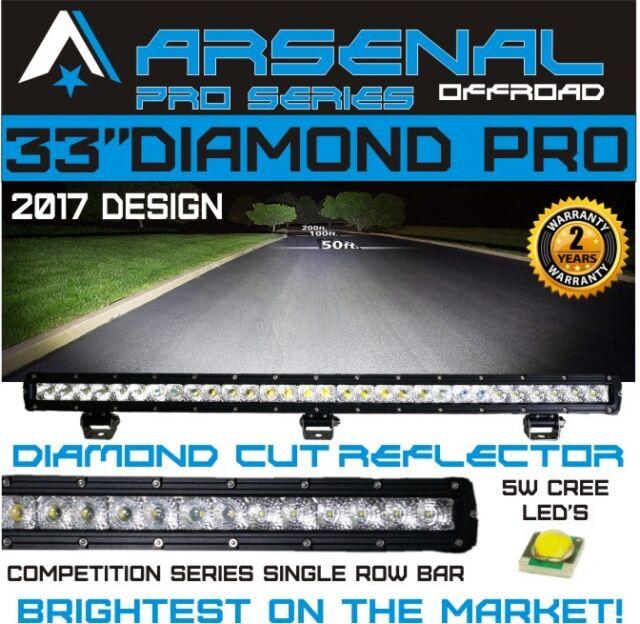 "#1 33"" 7D DIAMOND PRO SERIES Single Row LED Light Bar Flood/Spot Combo Beam CREE"