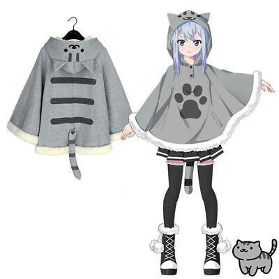 Neko Atsume Cute Cat Backyard Anime Kawaii Warm Wool Panel Coat Overcoat Jacket