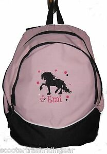 Friesian Horse Backpack Book Bag PERSONALIZED NEW Andalusian Draft school pink