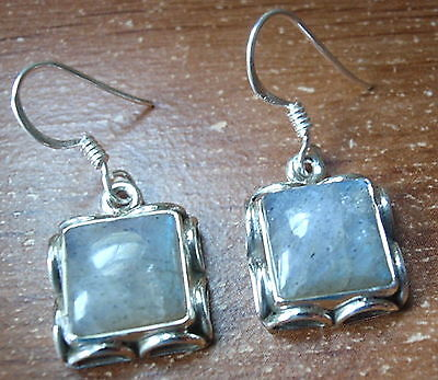 Lapis 925 Sterling Silver Stud Earrings w// Rope Style Accents on Perimeter