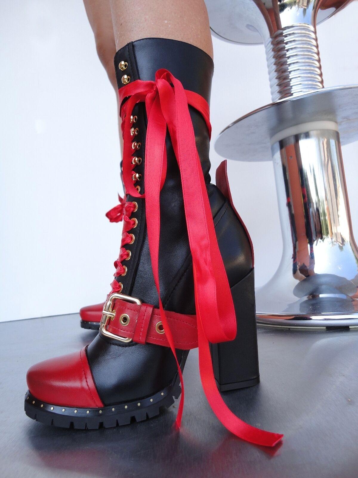 godendo i tuoi acquisti CQ COUTURE CUSTOM BIKER HEELS HEELS HEELS stivali stivali STIVALI LEATHER rosso nero NERO 37  stile classico