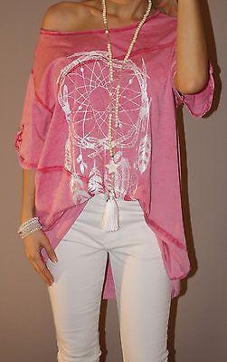 Vintage Shirt Traumfänger Blogger Tunika XXL 42 44 46 Pink Oversize Top Trend
