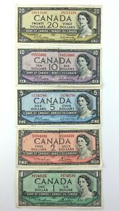 Lot-of-Canadian-1954-Banknotes-38-Dollars-Face-Value-Circulated-Canada-S917