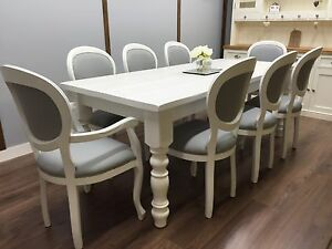 Image Is Loading FARMHOUSE TABLE Vintage French 8 Upholstered Chairs SHABBY