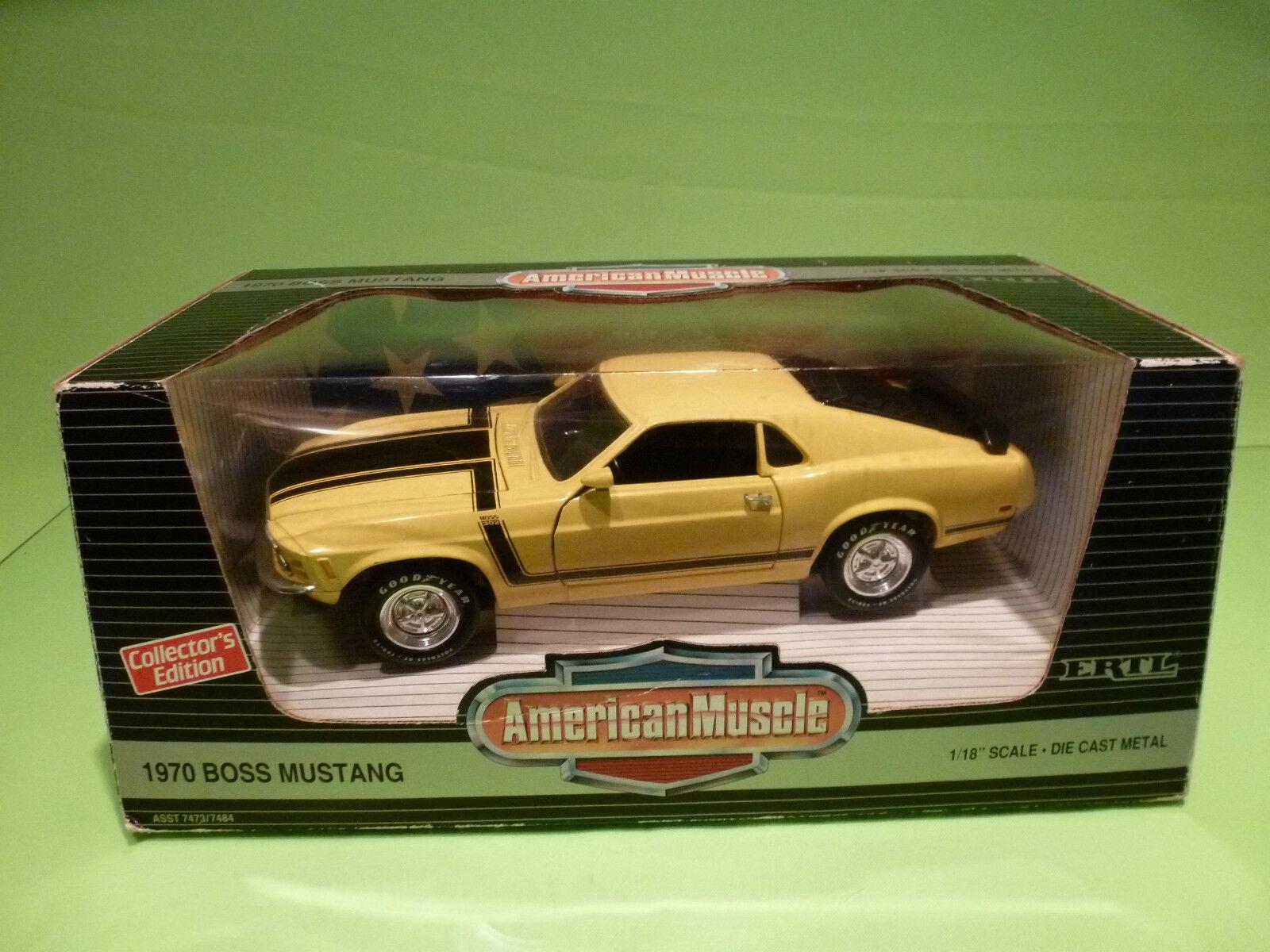ERTL AMERICAN MUSCLE 7484 FORD MUSTANG BOSS 302 1970 -jaune 1 18 - NMIB